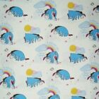 Winnie The Pooh Eeyore Rainbows Clouds And Birds 100% Cotton Fabric