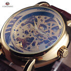 Mens Automatic Mechanical Watches Skeleton Leather Strap Smooth Round Steel Case