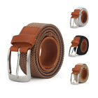 Fashion Men's Elasticated Woven Stretch Belt  with Genuine Cowhide Leather Inlay
