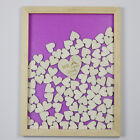 Personalized Engraved Drop Top Wooden Wedding Guest Book Frame 120Pcs Wood Heart