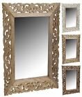 Large Wood Wall Mirror with Leaf Design In The Timber 50cm x 70cm Wooden Frame