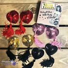 Boudoir Pair Sequin Adhesive Nipple Burlesque Tassels Heart Covers Sexy Lingerie