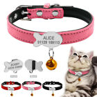 Fish Shape Kitten Tag Personalized Cat Dog Collars Suede Leather with Free Bell