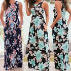 Women Sleeveless Party Prom Long Dress Lady Floral Maxi Beach Dress With Pockets