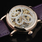 New Gold Case Butterfly Skeleton Leather Band Women Automatic Mechanical Watches