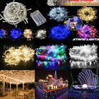 UK 100-500 LEDs Solar/Battery/UK Plug String Lights Home Yard Fairy Party Deco
