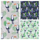 TOTALLY TOUCAN - Cute Poly Cotton Fabric - PER METRE grey green blue