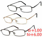Retro Rectangle Reading Glasses Metal Frame Spring Hinges High Power up to +6.00