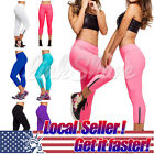 Us Ship Women Capri Yoga Running Pants High Waist Cropped Leggings Fitness M-xl
