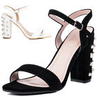 Womens Embellished Pearl High Heel Strappy Sandals Sz 5-10