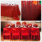 Choose Size Red Rectangle Sequin Tablecloth for Party Wedding Table