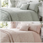 Damask Patterned Cotton Rich Duvet Cover with Pillowcase - Reversible