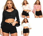 Womens Frill Lace Tie Cropped Cardigan Top Ladies V Neck Long Bell Sleeve Eyelet