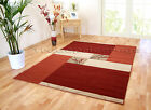 SMALL - EXTRA LARGE DARK BURNT RED TERRACOTTA ORANGE BEIGE MODERN FLOOR RUG MAT