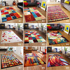 SMALL- LARGE ARTISTIC COLOURFUL FUNKY NON-SHED GEOMETRIC SOFT PILE MODERN RUG
