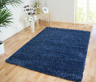 SMALL - LARGE LIGHT & DARK DENIM BLUE MIX TWO-TONE THICK SHAGGY LUXURY RUG
