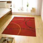 RED AND BLACK LARGE ELEMENT RETRO MODERN RUG - DISCOUNT PRICE