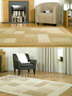 MEDIUM EXTRA LARGE THICK DARK & LIGHT BEIGE BROWN SOFT MODERN RUG SQUARES BLOCKS