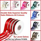 Full Reel Double Sided Faced Satin Ribbon Crafts etc 50/20M Choose Color &Width