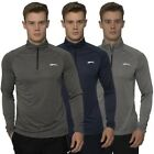 Slazenger Mens T Shirt Long Sleeve Sports Zip Up Activewear Fitness Tee Top