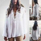 New Womens Balloon Sleeve Lace-up V-neck Casual loose Solid Color Blouse T-shirt
