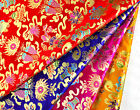 "28"" WIDE TIBETAN DAMASK BROCADE FABRIC: PISCES GEM CONCH EIGHT BUDDHA TREASURES"