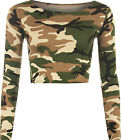 New Womens Army Camouflage Print Long Sleeve Short Stretch Ladies Crop Top