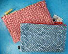Barney's New York Red or Blue Geometric Makeup Bag Travel Case Cosmetic Pouch