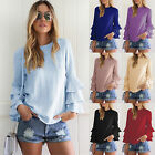 Fashion Womens Summer Plus Size Long Sleeve Casual Blouse Loose Tops T-Shirts