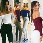 Women Slim Knitted Long Sleeve Blouse Ladies Sexy T-shirt Off Shoulder Tops 6-14