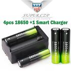 12Pcs 18650 3.7V 5800mAh Rechargeable Li-ion Battery + Charger For Torch b
