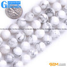 Natural White Howlite Turquoise Gemstone Faceted Round Beads Free Shipping 15""