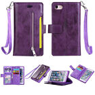 9 Cards Leather Flip Wallet Card Zipper Case & Strap Phone Cover For Cell Phones