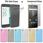 Ultra Slim Clear Gel Case Cover & Tempered Glass for Sony Xperia Various Colour