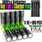50pcs Battery 3.7v 18650 Rechargeable Li-ion Battery +For Lamp+Battery Charger P