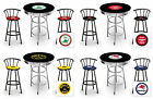 FC590 VINTAGE GAS GARAGE AUTO SHOP THEMED ROUND BAR TABLE & BLACK STOOLS SET