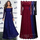Women's Long Lace Off Shoulder Formal Evening Cocktail Prom Ballgown Party Dress