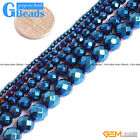 Blue Metallic Coated Reflection Hematite Faceted Round Beads Free Shipping 15''