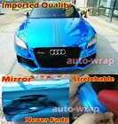 Optional Entire Car Glossy Mirror Chrome Vinyl Wrap Film Sticker - Imported Blue