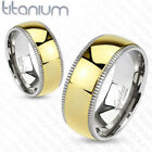 PERFECT MENS GOLD IP SOLID TITANIUM GROOVED SILVER EDGE DOME WEDDING BAND RING