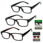 Square Frame Multi Focus Progressive Lens Reading Glasses 3 Powers in 1 Reader