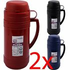 2 X FLASK CAMPING 0.5L VACUUM HOT COLD TEA DRINK BOTTLE CUPS GLASS INSULATED NEW