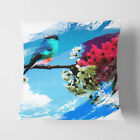 Faux Suede Throw Scatter Cushion Bullfinch Bird on a Tree V2
