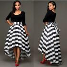 Women Top+Striped Irregular Hem Dress Evening Party Cocktail Long Maxi Dress HX