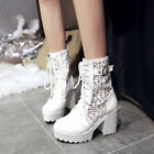 Fashion Winter Ladies Chunky Heel Thick Bottom High Heel Lace Up Ankle Boots.