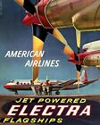 American Airlines Electra Flagships Vintage Travel Poster Reproduction