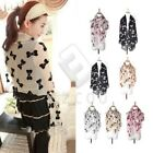 Women Girl Bowtie Chiffon Feel Scarf Wrap Shawl Stole 3 Colors 160x70cm