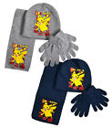 Boys Pokemon Hat Scarf And Glove Set New Kids Pikachu Winter Sets Age 3-12 Years