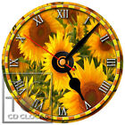 S-948 CD CLOCK-SUNFLOWERS-DESK OR WALL CLOCK-FAST FREE SHIPPING-BUY IT NOW