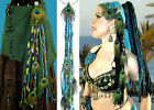 Mermaid PEACOCK FEATHER Larp YARN hair FALL Tribal Fusion Belly Dance HIP TASSEL
